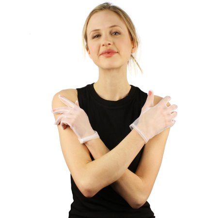Elegant 1930s Sheer Transparent Stretch Wrist Length Dressy Evening Gloves White White Stretch Glove