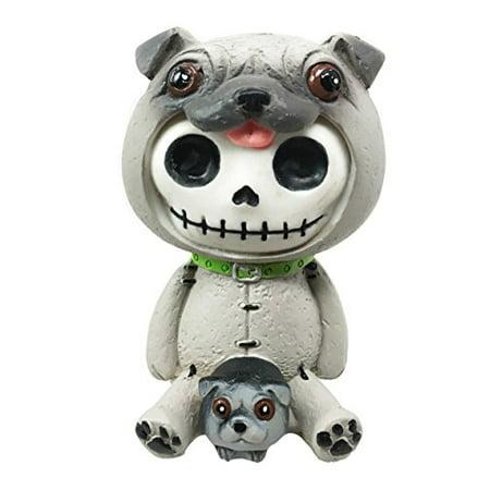 FurryBones Pugsley Grey Pug Costume Skeleton Monster Sit Up Ornament - Pugsley Costume