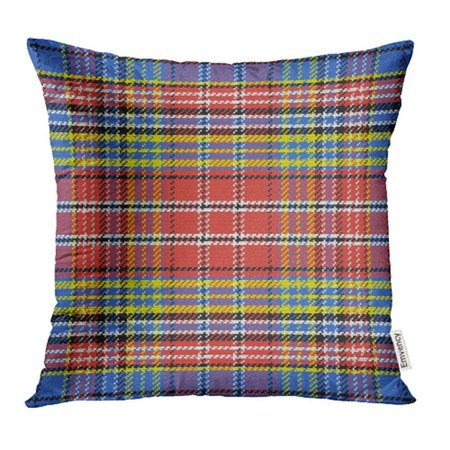 CMFUN Kilt Scottish Tartan Black White Blue Yellow Red Plaid Abstract Britain British Pillowcase Cushion Cover 18x18 inch