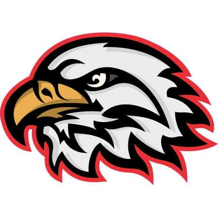 5in x 3.5in Red Eagle Head Mascot Sticker Vinyl School Bumper - Cheap Mascot Heads
