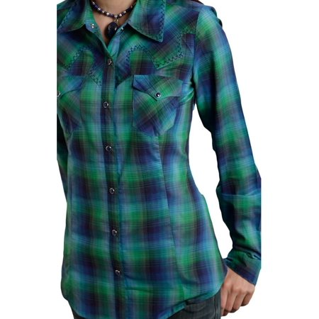 Roper Western Shirt Womens Plaid Long Sleeve Green 03-050-0597-6032 GR