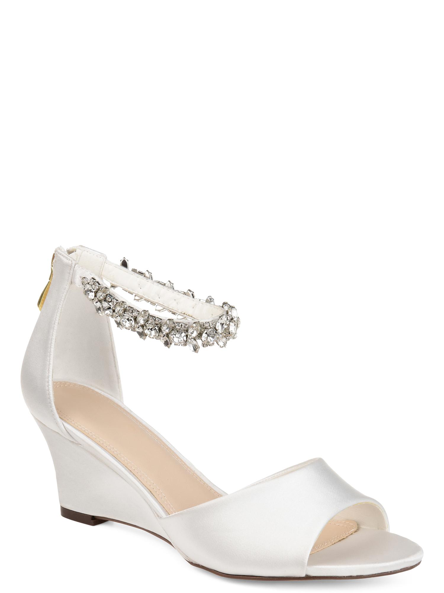 Womens Jeweled Open-toe Wedge