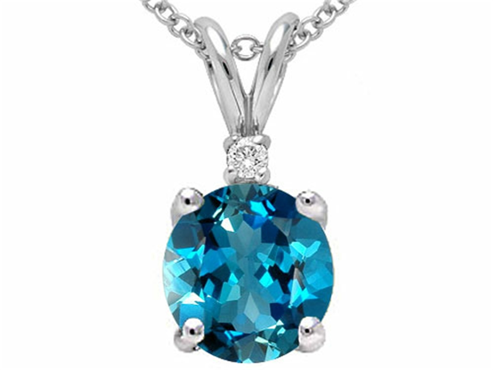 Tommaso Design Round 7mm Genuine Blue Topaz Pendant Necklace by