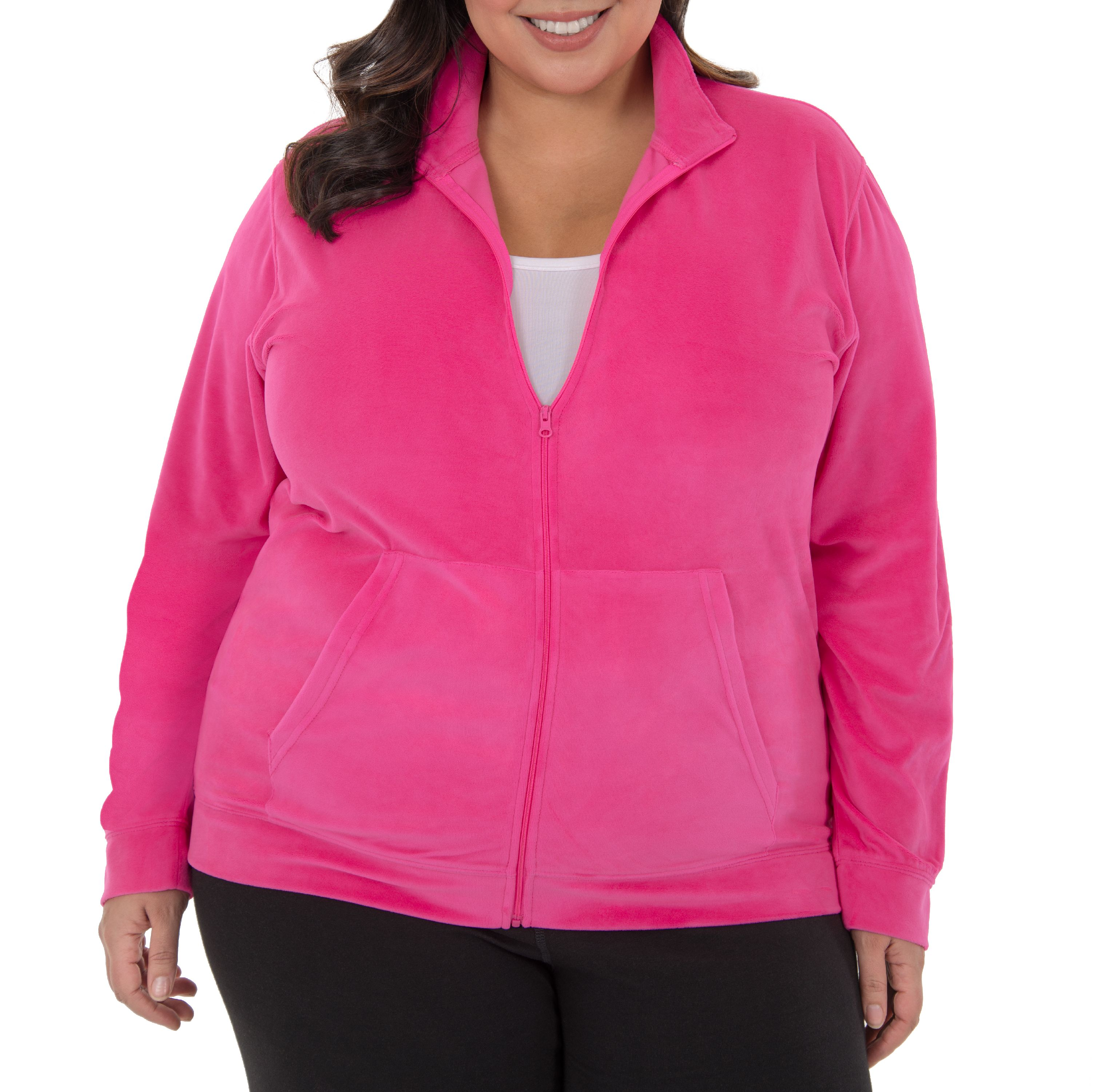 Danskin Now Women's Plus Velour Full Zip Jacket with Pockets