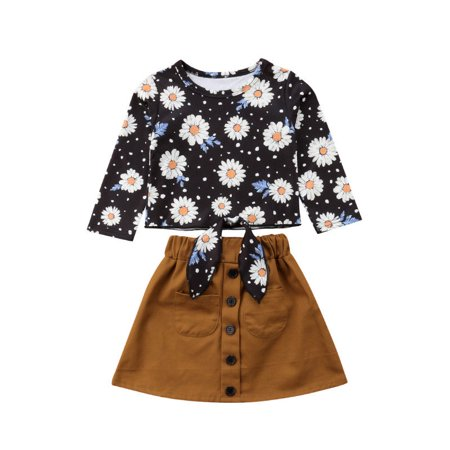 US Toddler Kid Baby Girl Long Sleeve Daisy Tops+Suede Skirt Dress Outfit Clothes