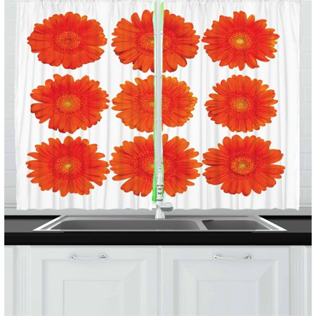 Orange Curtains 2 Panels Set, Collection of Orange Gerberas Botanical Bouquet Seasonal Growth Garden Spring Theme, Window Drapes for Living Room Bedroom, 55W X 39L Inches, Orange, by - Seasonal Themes