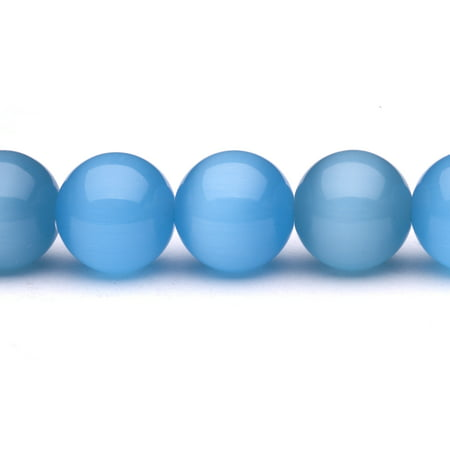 Blue Cat's Eye Beads Round Fiber Optic Glass Beads 14mm