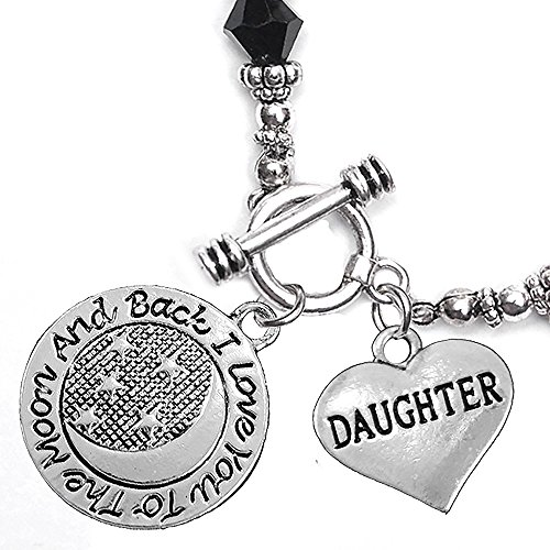 Daughter, I Love You To The Moon And Back Jet Crystal Charm Bracelet, Hypoallergenic, Safe, Nickel, Lead, & Cadmium Free.