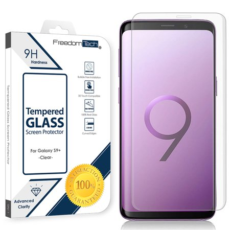 Freedomtech Samsung Galaxy S9 Plus Screen Protector Glass Film Full Cover 3D Curved Case Friendly Screen Protector Tempered Glass for Samsung Galaxy S9 Plus Clear
