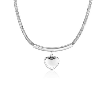 Coastal Jewelry Heart Charm Stainless Steel Hollow Mesh Necklace Satin Mesh Necklace