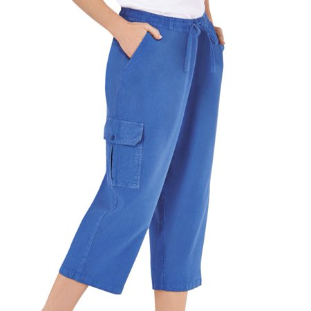 Women's Elastic Waist Cargo Pocket Capri Pant, X-Large, Royal Blue - Womens Capes