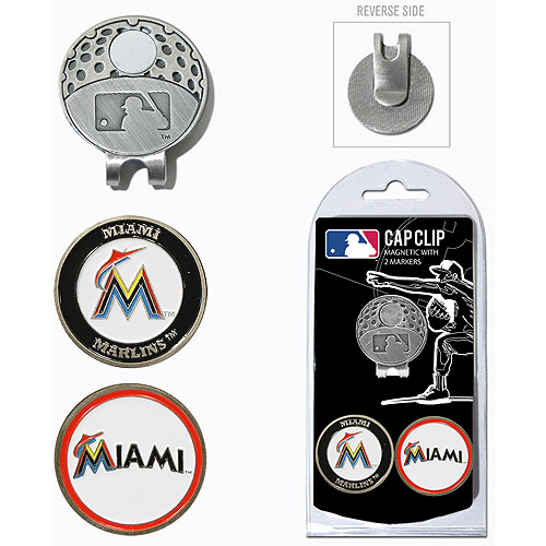 Team Golf MLB Miami Marlins Cap Clip With 2 Golf Ball Markers