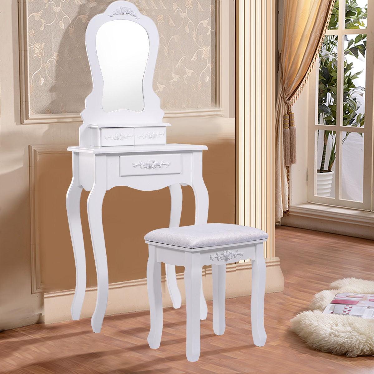 Costway Vanity Jewelry Makeup Dressing Table Set bathroom  W/Stool Drawer Mirror Wood Desk,White,Black
