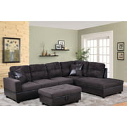 Ezekiel 103.5'' Right & Left Hand Facing Sectional Sofa with Storage Ottoman, Microfiber & Leather Upholstered