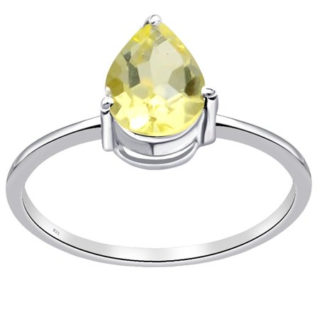 - 925 Sterling Silver Ring | 1.1 Carat Lemon Quartz Ring | Solitaire Ring | Pear Cut Engagement Ring | Simple Affordable Ring By Orchid Jewelry