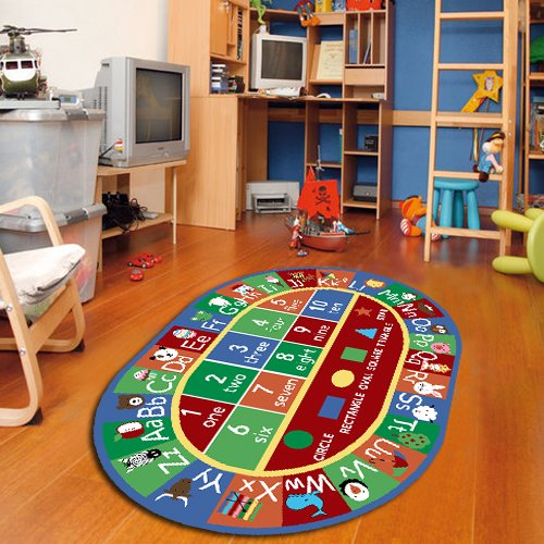 "Kids Abc Alphabet Numbers Educational Area Rug Non Skid 4'4""x6'9"" Oval"