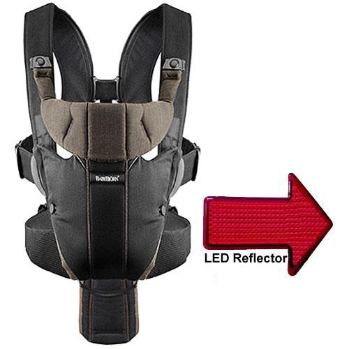 Baby Bjorn - Miracle Organic Baby Carrier with LED Safety Reflector Light - Blac