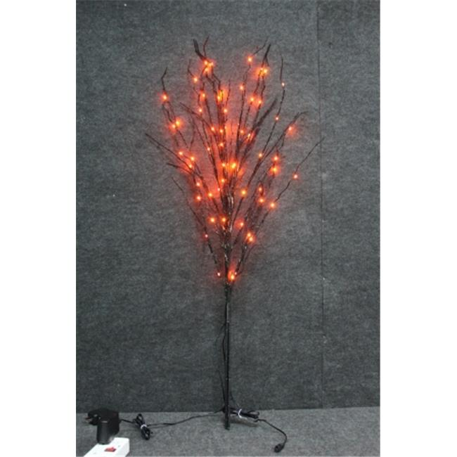 Winterland WL-DTR-03-BK-LOR 3 ft.  Tree, Black Branches, 60 Orange Lights, LED Twig Stake Light