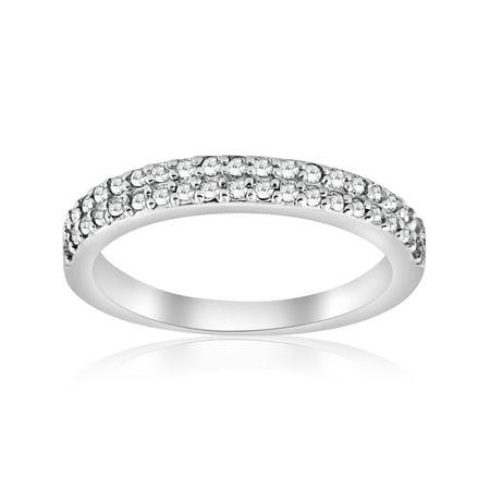 Pompeii3 1 4ct Double Row Diamond Wedding Ring 14k White Gold Womens Band Pave