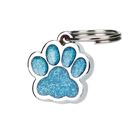 Personalised Engraved Glitter Paw Print Tag Dog Cat Pet ID Tags