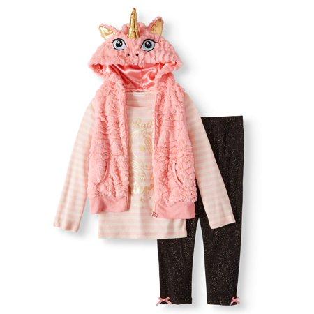 Unicorn 3D Faux Fur Vest, Graphic Tee & Knit Denim Legging, 3-Piece Outfit Set (Little Girls & Big Girls) - Female Pimp Outfit