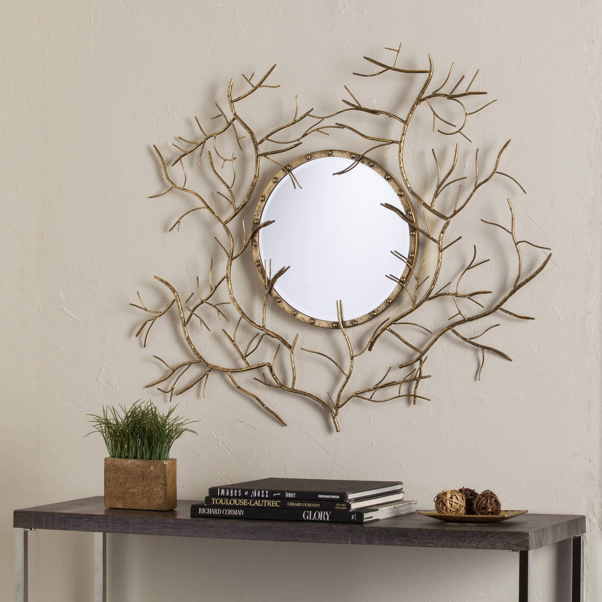 Southern Enterprises Majestic Branch Round Mirror, Gold by Southern Enterprises