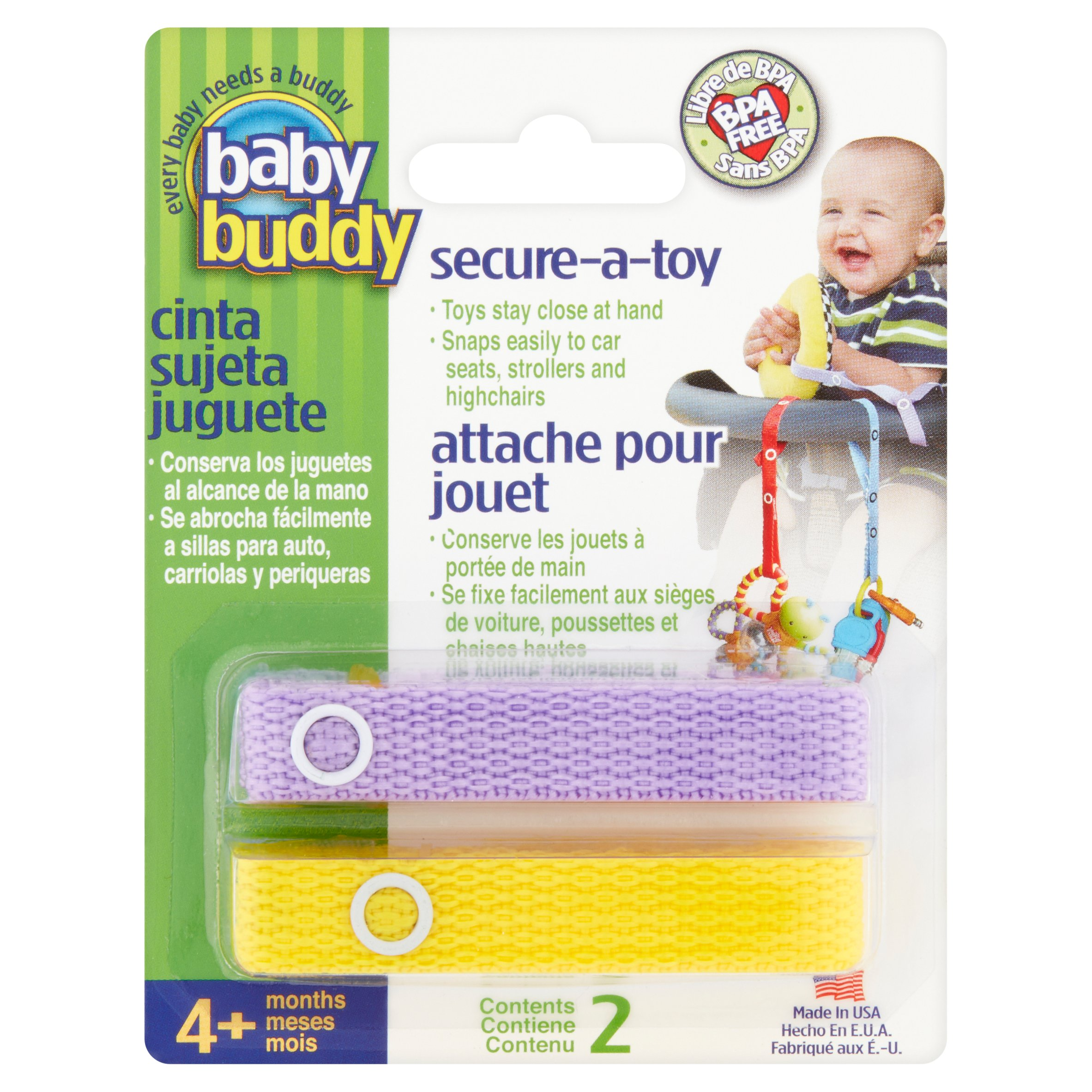 Baby Buddy Secure-A-Toy Toy Straps 4+ months, 2 count