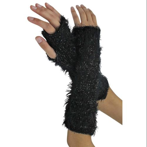 Luxury Divas Black & Gold Fuzzy Knit Fingerless Glove Arm Warmers