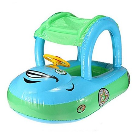 YOUDirect® Cartoon Car Swim Float Seat Boat Pool Ring Seat with Sunshade & Canopy for Kids Baby Child Toddler Infant - (Sunsmart Infant Sunshade)