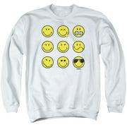 Smiley World Nine Faces Mens Crewneck Sweatshirt