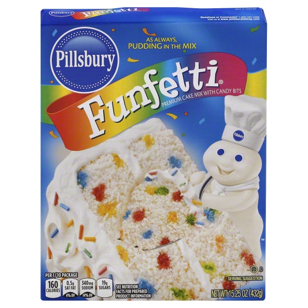 Pillsbury Funfetti Premium Cake & Cupcake Mix with Candy Bits, 15.25 oz