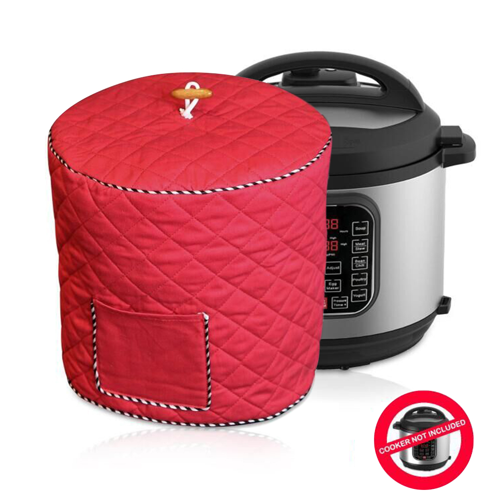Dustproof Decorative Electric Pressure Cookers Cover with Pocket, Electric Pressure Cookers Accessories - Fits 6QT Instant Pot (Red)