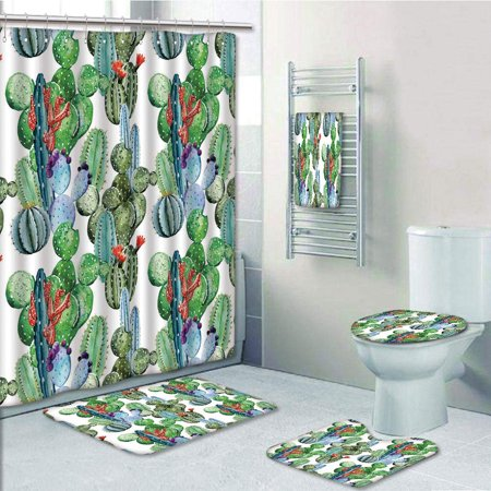 EREHome Different Cactus Types Watercolors Display Spring Field Foliage 5 Piece Bathroom Set Shower Curtain Bath Towel Bath Rug Contour Mat and Toilet Lid Cover - image 1 de 2