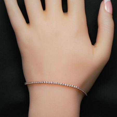 Prong Set 2 Carat Round Cut Diamond Line Tennis Bracelet in 18k Gold Over