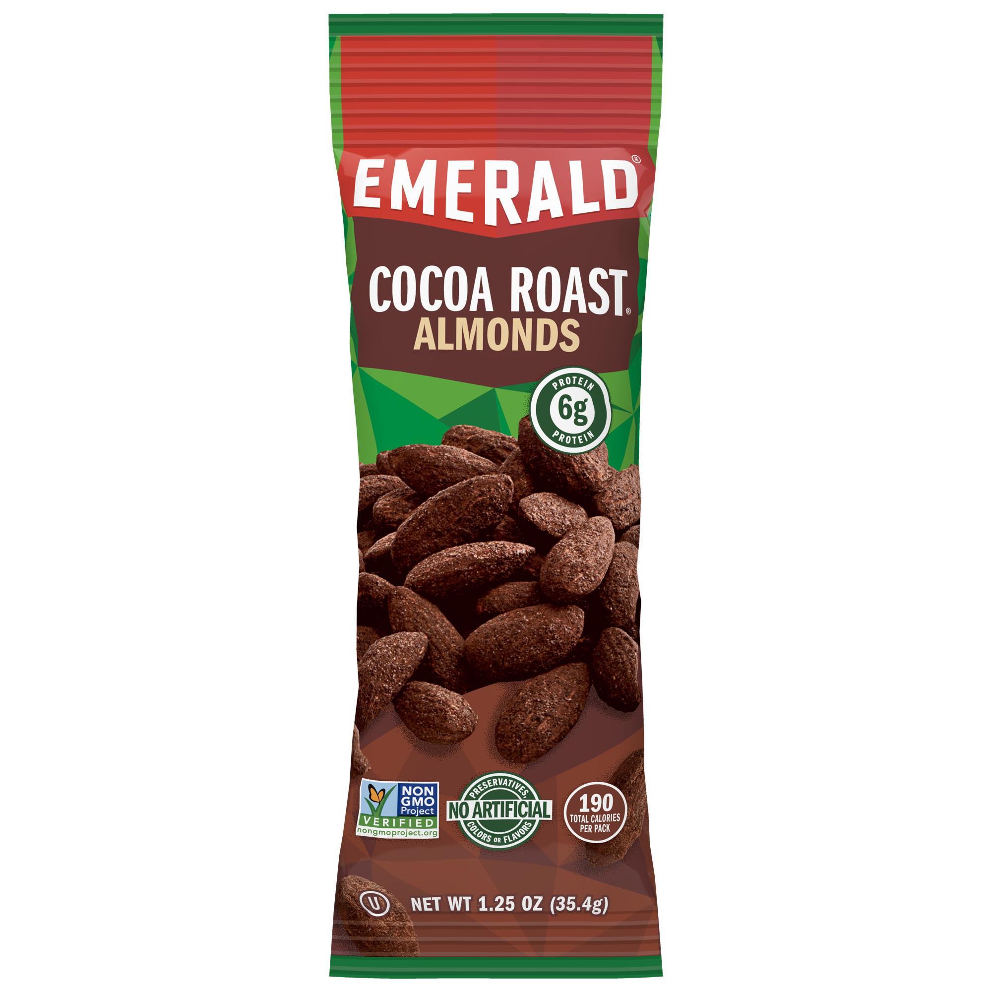 Emerald Nuts, Cocoa Roast Almonds, Single-Serve 1.25 Oz, 12 Ct