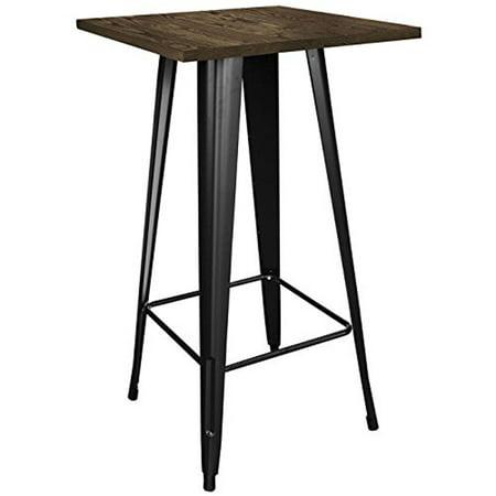 Loft Black Metal Pub Table With Wood Top Cocktail Bar Diner Bistro Caf