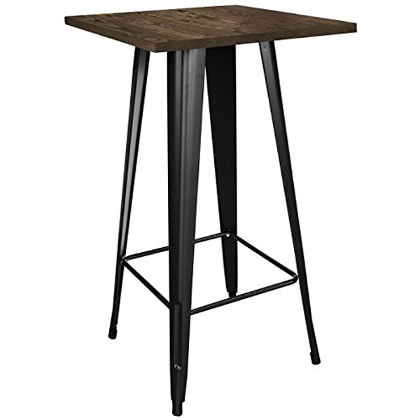 Loft Black Metal Pub Table With Wood Top Cocktail Bar Diner Bistro Caf Lounge