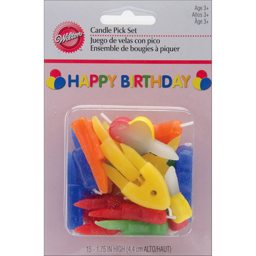 "Wilton 1.5"" Happy Birthday Candles & Cake Decorations Pick Set, Rainbow 15 ct. 2811-785"