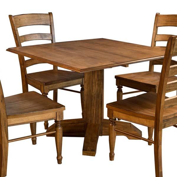 A-America Bennett Square Drop Leaf Dining Table in Smoky Quartz