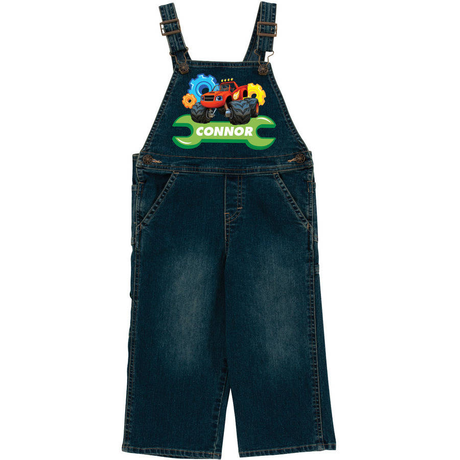 Personalized Blaze And The Monster Machines Toddler Denim Overalls