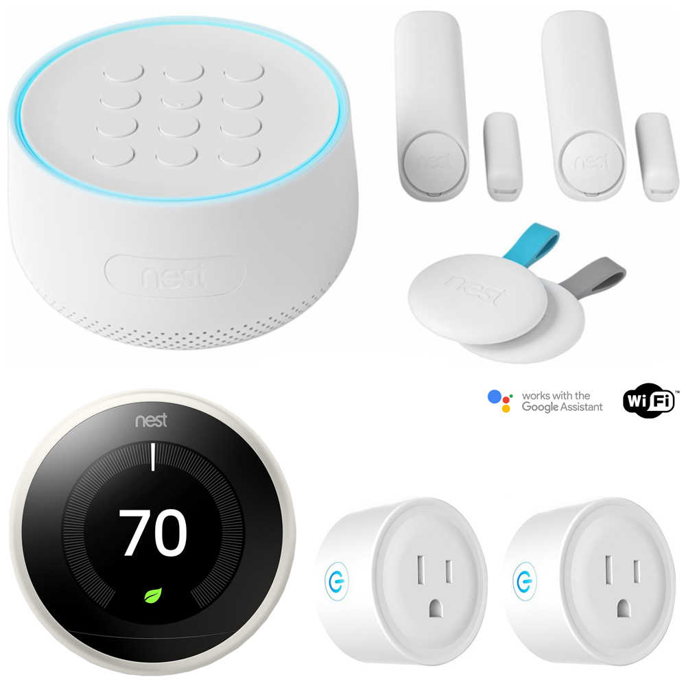 Nest Secure Alarm System Starter Pack (H1500ES) w/ Thermostat Bundle Includes, Nest Learning Thermostat (3rd Generation, White) and Deco Gear 2 Pack WiFi Smart Plug