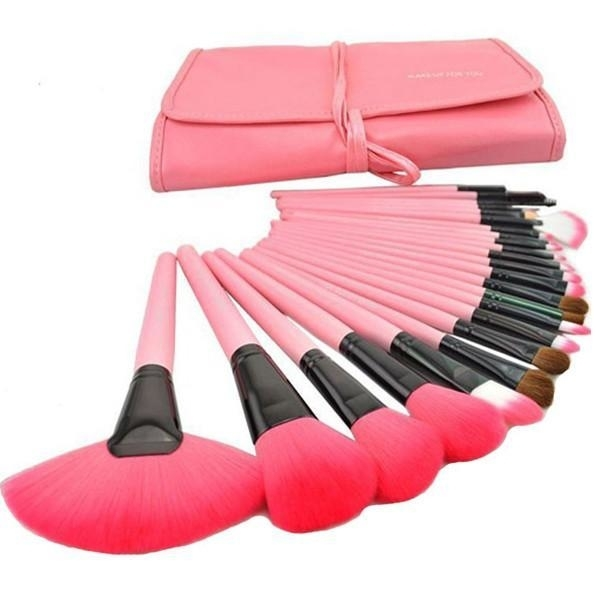 24 Makeup Brushes Kit with Vegan-Leather Case