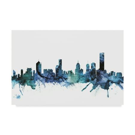 Trademark Fine Art 'Melbourne Australia Blue Teal Skyline' Canvas Art by Michael (Fit Melbourne Map)
