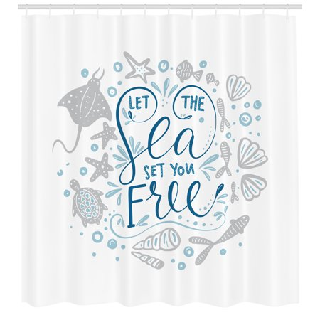 Nautical Shower Curtain Let The Sea Set You Free Quote With Shellfish Turtle And Stingray