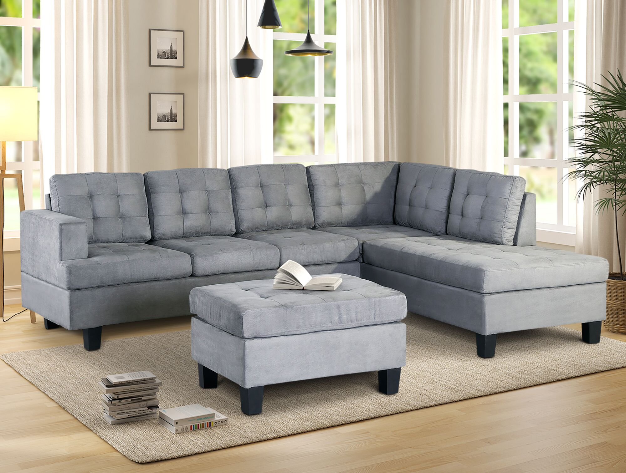 """105""""x80"""" L-Shape Sectional Sofa with Chaise and Ottoman ..."""