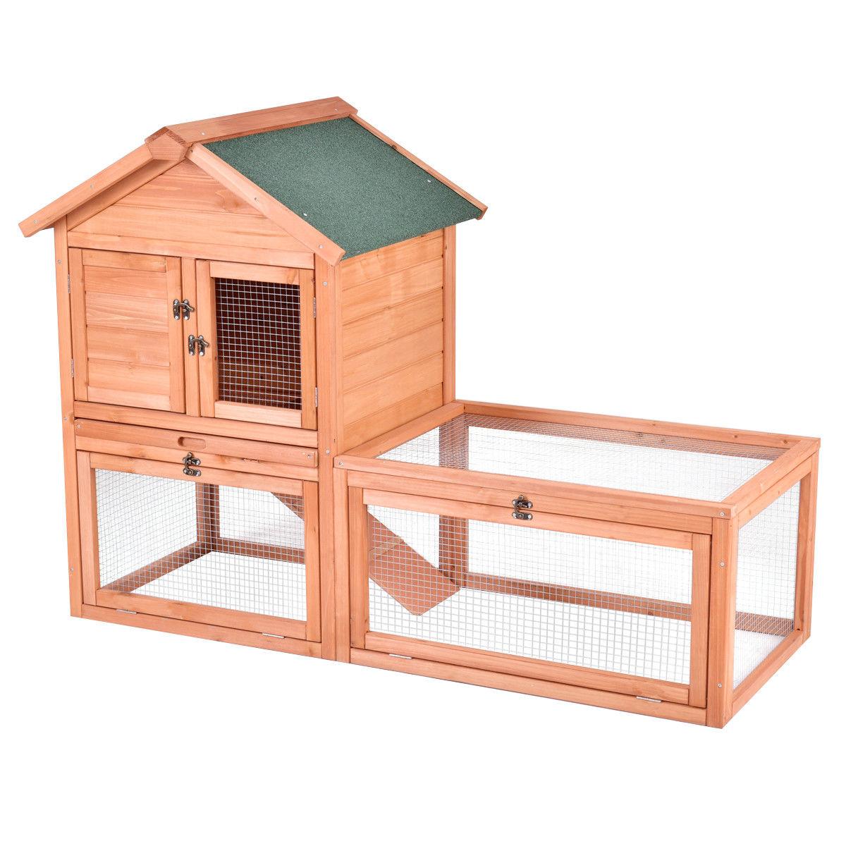 "Gymax Pet Supplies 56"" Wooden House Rabbit Hutch"