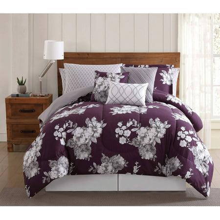Bed Ensemble Set - Purple Garden Floral 12PC Bed Ensemble