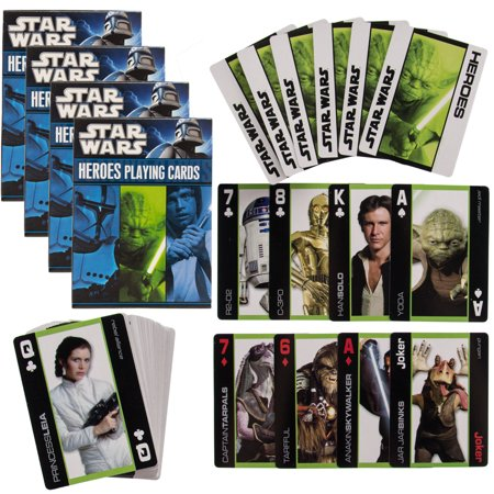 Star Wars 4 Pack Decks Themed Playing Cards Heroes Set By Cartamundi Collector Pack