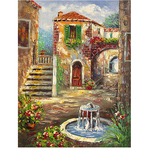 "Trademark Fine Art ""Tuscan Cottage"" Canvas Wall Art by Rio"