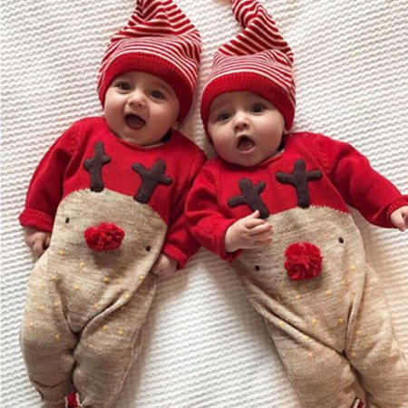 Mosunx? Newborn Kid Baby Deer  Boys Girls Clothes Jumpsuit+Hat Set Outfits - Boys Kids Outfit